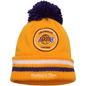 Los Angeles Lakers nba mitchell & ness спортивная шапка с помпоном желтая