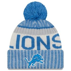 Detroit Lions nfl new era sideline зимняя шапка с помпоном
