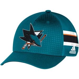 San Jose Sharks nhl adidas flex-fit draft хоккейная бейсболка голубая