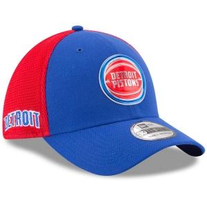 Detroit Pistons nba new era flex-fit on-court спортивная бейсболка сине-красная