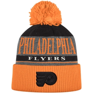 Philadelphia Flyers nhl adidas хоккейная шапка с помпоном оранжевая