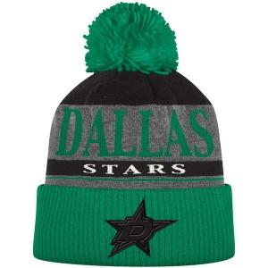 Dallas Stars nhl adidas heathered хоккейная шапка с помпоном зеленая