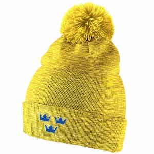 Sweden Hockey nike iihf olympic хоккейная шапка с помпоном желтая