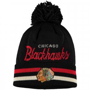 Chicago Blackhawks nhl adidas хоккейная шапка с помпоном черная