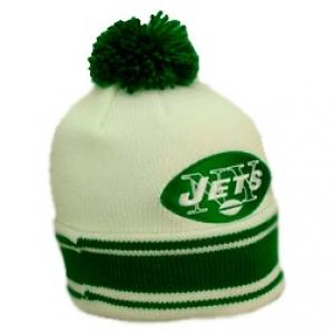 New York Jets nfl mitchell & ness спортивная шапка с помпоном белая