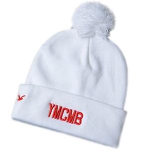 YMCMB модная спортивная шапка с помпоном белая