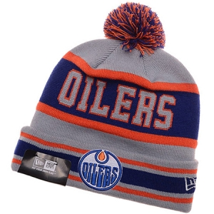 Edmonton Oilers nhl new era хоккейная шапка с помпоном сине-серая