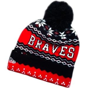 Atlanta Braves mlb new era шапка с помпоном красно-черная