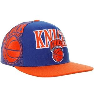New York Knicks nba mitchell & ness snapback спортивная кепка сине-оранжевая