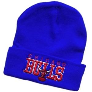 Chicago Bulls nba спортивная зимняя шапка с отворотом синяя