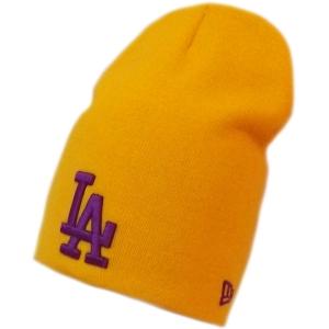 Los Angeles Dodgers mlb new era LA спортивная зимняя шапка длинная желтая