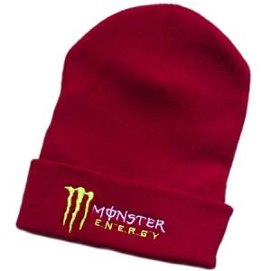 Monster Energy спортивная зимняя шапка с отворотом бордовая