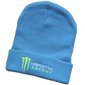 Monster Energy спортивная зимняя шапка с отворотом голубая