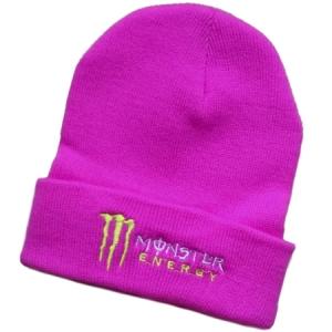 Monster Energy спортивная зимняя шапка с отворотом розовая