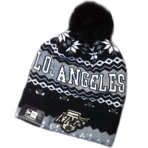 Los Angeles Kings nhl new era шапка с помпоном черно-серая