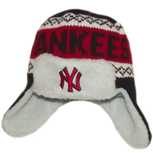 New York Yankees mlb NY зимняя спортивная шапка ушанка черно-красная