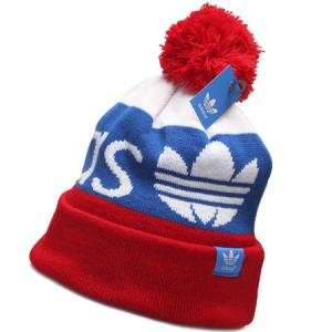 Adidas tricolor шапка с помпоном спортивная красно-сине-белая