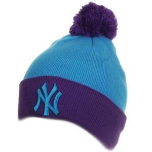New York Yankees mlb new era NY шапка с помпоном голубая