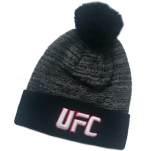 UFC спортивная шапка с помпоном черно-серая