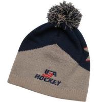 USA old time Hockey спортивная стильная шапка с помпоном серо-синяя