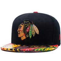 Chicago Blackhawks nhl new era snapback хоккейная кепка с прямым козырьком черная