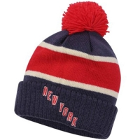 New York Rangers nhl reebok хоккейная шапка с помпоном красно-синяя