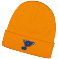 St Louis Blues nhl reebok хоккейная зимняя шапка с отворотом желтая