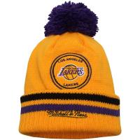 Los Angeles Lakers nba mitchell & ness script зимняя шапка с помпоном
