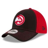 Atlanta Hawks nba new era flex-fit front спортивная бейсболка черно-красная