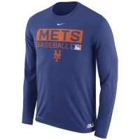 New York Mets mlb nike authentic dri-fit performance бейсбольная лонгслив футболка