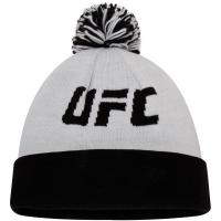 UFC reebok logo спортивная зимняя шапка с помпоном черно-белая