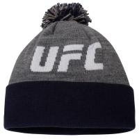 UFC reebok logo спортивная зимняя шапка с помпоном серо-черная