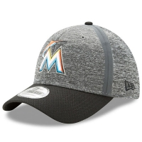 Miami Marlins mlb new era flex heathered спортивная бейсболка серая