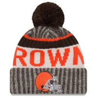 Cleveland Browns nfl new era sideline зимняя шапка с помпоном