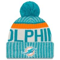 Miami Dolphins nfl new era sideline зимняя шапка с помпоном