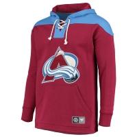 Colorado Avalanche nhl fanatics lace up hoodie хоккейная толстовка с капюшоном бордовая