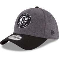 Brooklyn Nets nba new era flex-fit heathered спортивная бейсболка черно-серая