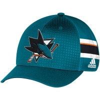 San Jose Sharks nhl adidas flex-fit draft хоккейная бейсболка голубая