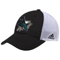San Jose Sharks nhl adidas flex-fit on ice хоккейная бейсболка с сеткой черно-белая