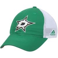 Dallas Stars nhl adidas flex-fit on ice хоккейная бейсболка с сеткой бело-зеленая