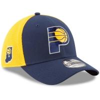 Indiana Pacers nba new era flex-fit on-court спортивная бейсболка сине-желтая