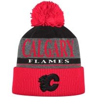 Calgary Flames nhl adidas heathered хоккейная шапка с помпоном красно-черная