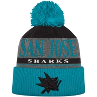 San Jose Sharks nhl adidas хоккейная шапка с помпоном голубая