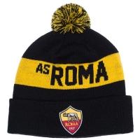 AS Roma футбольная зимняя шапка с помпоном черная