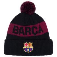 Barcelona FC футбольная зимняя шапка с помпоном черная