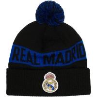 Real Madrid CF футбольная зимняя шапка с помпоном черная