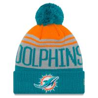 Miami Dolphins nfl new era шапка с помпоном цветная