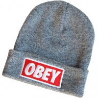 OBEY шапка зимняя молодежная с отворотом серая