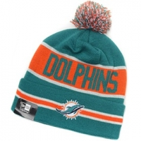 Miami Dolphins nfl new era зимняя шапка с помпоном бирюзовая