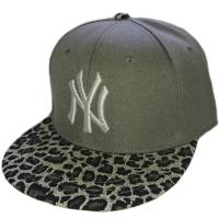New York Yankees mlb NY sapback кепка с леопардовым козырьком серая